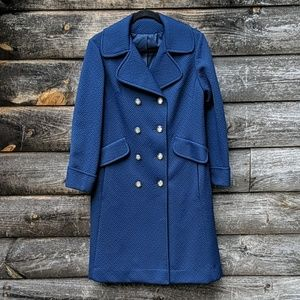 Vintage Sears Fashion Textured Blue Long Peacoat